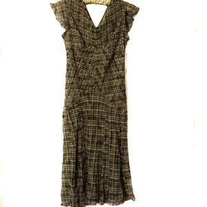 Kate Hill Petite green plaid fitted dress size 6P